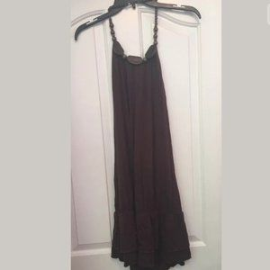 GRASS COLLECTION A24 Solid Brown Halter Top Dress